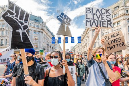 A pro Palestine march, opposing Israel's annexation plan in the West Bank, joins up with a Black Lives Matter protest and together they temporarily block Oxford Circus, whilst marching through central London.