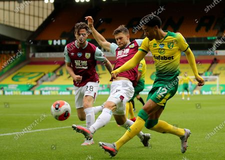 Norwich City's Jamal Lewis, right, duels for the all with Burnley's Johann Berg Gudmundsson during the English Premier League soccer match between Norwich City and Burnley at Carrow Road Stadium in Norwich, England