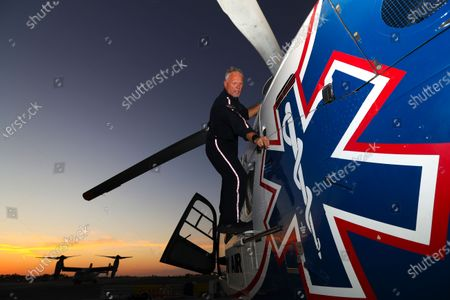 Stock Picture of Pilot Michael Bobeck at the start of his 12 hours night shift checks Mercy Air air ambulance helicopter based at Imperial County Airport, Imperial. Imperial County Airport on Sunday, July 12, 2020 in Imperial, CA. (Irfan Khan/Los Angeles Times)