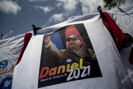 View of a t-shirt depicting Nicaraguan President Daniel Ortega in honor of the Nicaraguan revolution in Managua, Nicaragua, 18 July 2020. For the first time since 1979, the old center of Managua will not serve as the stage for the largest annual party of the Sandinistas, the Nicaraguan popular revolution, celebrated annually on 19 July, due to the coronavirus pandemic.