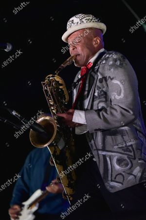 """Stock Image of Angelo Moore of """"Fishbone"""" performs onstage at Concerts in your Car at the Ventura County Fairgrounds, in Ventura, Calif"""