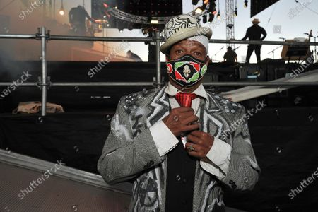 """Stock Photo of Angelo Moore of the rock band """"Fishbone"""" backstage at Concerts in your Car at the Ventura County Fairgrounds, in Ventura, Calif"""