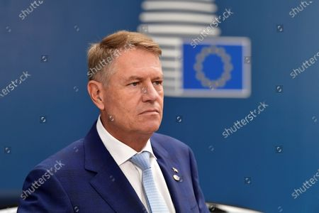Stock Photo of Romania's President Klaus Werner Iohannis arrives for the third day of the European Council in Brussels, Belgium, 19 July 2020. European Union nations leaders meet face-to-face for a third day to discuss plans to respond to the coronavirus pandemic and a new long-term EU budget.