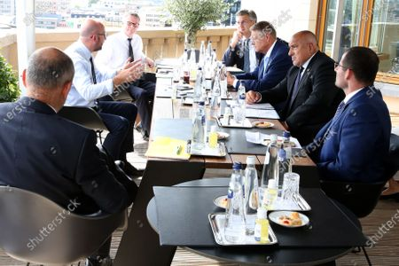 Stock Picture of European Council President Charles Michel (L) meets with (from R) Slovenia's Prime Minister Marjan Sarec, Bulgaria's Prime Minister Boyko Borissov, Romania's President Klaus Werner Iohannis and Croatia's Prime Minister Andrej Plenkovic during a meeting on the sidelines of an EU summit in Brussels, Belgium, 19 July 2020. European Union nations leaders are meeting face-to-face for a third day to discuss plans responding to coronavirus crisis and new long-term EU budget.