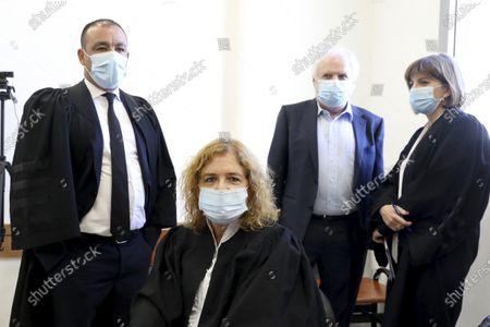 Liat Ben Ari, center, plaintiff in the trial against Prime Minister Benjamin Netanyahu is seen in the district court in Jerusalem