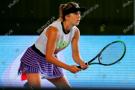 Elina Svitolina of Ukraine in action against Andrea Petkovic of Germany during their 3rd place match f the bett1ACES tennis tournament held at Hanger 6 of the inoperative Tempelhofer airport, in Berlin, Germany, 19 July 2020.  The second part of the exhibition tournament will be played on a hard surface, in an airport hanger converted to a small tennis stadium and will be held under strict hygiene restrictions made to cope with the spread of the coronavirus SARS-CoV-2 which causes the COVID-19 disease.