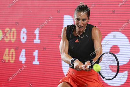 Andrea Petkovic of Germany in action against Elina Svitolina of Ukraine during their 3rd place match f the bett1ACES tennis tournament held at Hanger 6 of the inoperative Tempelhofer airport, in Berlin, Germany, 19 July 2020.  The second part of the exhibition tournament will be played on a hard surface, in an airport hanger converted to a small tennis stadium and will be held under strict hygiene restrictions made to cope with the spread of the coronavirus SARS-CoV-2 which causes the COVID-19 disease.