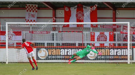 Gateshead goalkeeper Bradley James makes a great save during the penaly shootout during the Brackley Town vs Gateshead Vanarama National League North Play-off match at St.James Park, Brackley