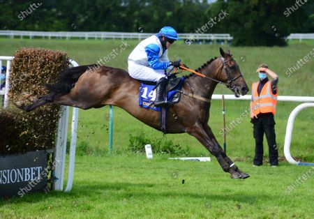 Stock Picture of Tipperary KILDERRY PRINCE and Darragh O'Keeffe jump the last to win the Jim Ryan Racecourse Services Handicap Steeplechase. Healy Racing