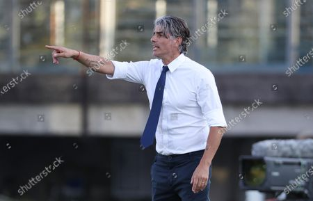 Brescia's head coach Diego Lopez gestures during the Italian Serie A soccer match Brescia Calcio vs S.P.A.L at the Mario Rigamonti stadium in Brescia, Italy, 19 July 2020.