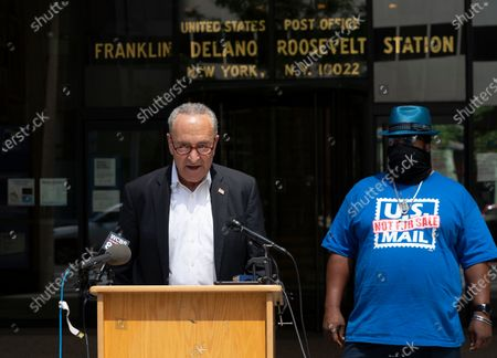U.S. Senator Charles Schumer along with Postal Union President Jonathan Smith brief media on USPS money shortage at post office on 3rd Avenue. Schumer and Smith talk about possibility of USPS sutting doors across country because is runs out of money to operate. Schumer said that negotiation to infuse money into USPS will start in U.S. Senate on July 20. Both emphasized that USPS is the only delivery service required to reach every single corner of the country and the only one delivering absentee vote mails during election.