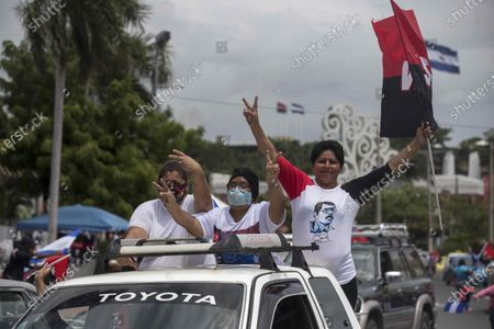 Sandinista supporters participate in a caravan during the commemoration of the Sandinista Popular Revolution, in Managua, Nicaragua, 19 July 2020. Due to the COVID-19 pandemic, social distancing was enforced during the 41st anniversary of the Nicaraguan revolution, which was celebrated with massive parades by the Sandinista National Liberation Front (FSLN), with the President Daniel Ortega at the helm. prior to the outbreak of the pandemic.
