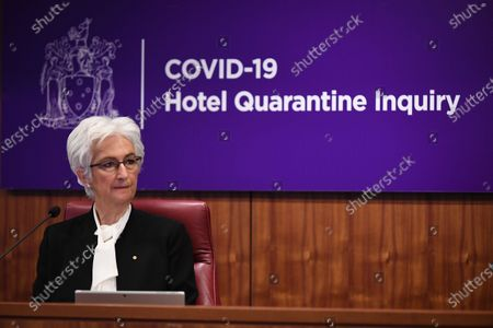 The Honourable Jennifer Coate AO looks on during the COVID-19 Hotel Quarantine Inquiry in Melbourne, Australia, 20 July 2020. The inquiry was instigated by Premier Daniel Andrews after it was revealed protocol breaches by security guards at two Melbourne hotels led to outbreaks.