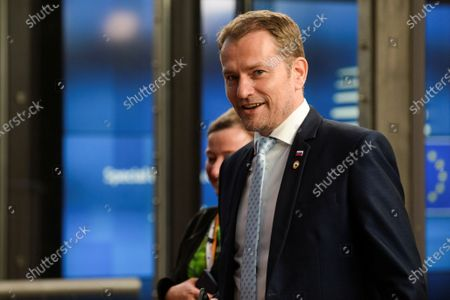 Slovakia's Prime Minister Peter Pellegrini leaves in the early morning after the third day of the European Council in Brussels, Belgium, 20 July 2020. European Union nations leaders meet face-to-face for a third day to discuss plans responding to coronavirus crisis and new long-term EU budget.
