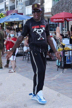 Dennis Rodman is sighted on Hollywood Beach Boardwalk. Broward County is now under nightly curfew to combat the coronavirus. The curfew is in place from 11 p.m. to 5 a.m. daily. The new restrictions come under an emergency order issued Friday afternoon Florida reported more than 12,400 new cases Sunday, bringing the state's total to more than 350,000 on Sunday, in Hollywood Beach, Florida, USA - 19 July 2020