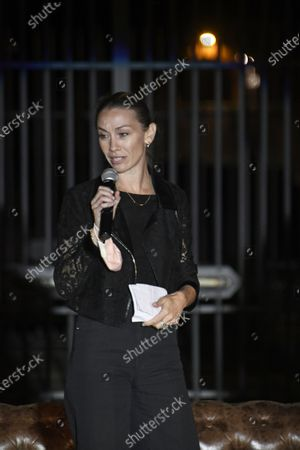 Stock Image of Eleonora Abbagnato director ballet of Opera Theatre during the presentation of the new lighting of Costantine Arch