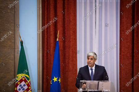 Stock Image of Former Finance Minister and former Eurogroup President, Mario Centeno, delivers a speech during his presentation ceremony as the new governor of Portugal Bank, at the Finance Ministery, in Lisbon, Portugal, 20 July 2020. Venteno became the new Governor of the Bank of Portugal.