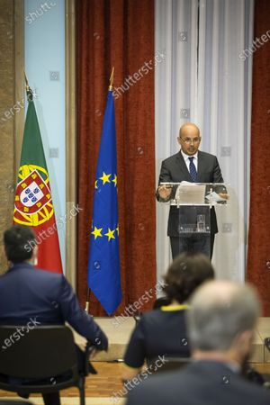 Portuguese Finance Minister, Joao Leao, delivers a speech during the presentation ceremony of former Finance Minister and former Eurogroup President, Mario Centeno, as the new governor of Portugal Bank, at the Finance Ministery, in Lisbon, Portugal, 20 July 2020. Venteno became the new Governor of the Bank of Portugal.