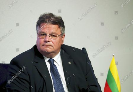 Lithuanian Foreign Minister Linas Linkevicius attends the press conference after the quadrilateral meeting of Baltic states and German Foreign Ministers in Tallinn, Estonia, 20 July 2020. Foreign ministers of the Baltic states and Germany discussed the current European Union issues, regional and global foreign and security policy topics.