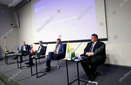 (L-R) German Foreign Minister Heiko Maas,  Estonian Foreign Minister Urmas Reinsalu, Latvian Foreign Minister Edgars Rinkevics and Lithuanian Foreign Minister Linas Linkevicius attend the press conference after the quadrilateral meeting in Tallinn, Estonia, 20 July 2020. Foreign ministers of the Baltic states and Germany discussed the current European Union issues, regional and global foreign and security policy topics.