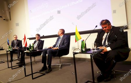 (L-R) German Foreign Minister Heiko Maas,  Estonian Foreign Minister Urmas Reinsalu, Latvian Foreign Minister Edgars Rinkevics and Lithuanian Foreign Minister Linas Linkevicius attend the press conference after the quadrilateral meeting of Baltic states and German Foreign Ministers in Tallinn, Estonia, 20 July 2020. Foreign ministers of the Baltic states and Germany discussed the current European Union issues, regional and global foreign and security policy topics.