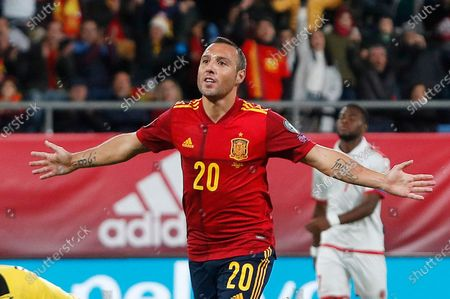 Spain's Santi Cazorla celebrates after scoring his side's second goal during a Euro 2020 Group F qualifying soccer match between Spain and Malta at the Ramon de Carranza stadium in Cadiz, Spain. Qatari club Al-Saad said Monday July 20, 2020, it has signed former Spain and Arsenal playmaker Santi Cazorla