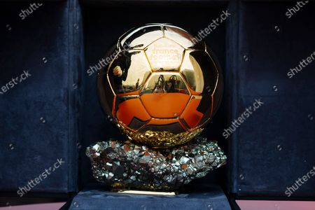 The Ballon d'Or award in Boulogne-Billancourt, outside Paris, . The prestigious Ballon d'Or will not be awarded this year because the coronavirus pandemic has disrupted the soccer season. Awarded by France Football magazine, the Ballon d'Or has been given out every year since Stanley Matthews won the first one in 1956. Lionel Messi has won it a record six times - one more than longtime rival Cristiano Ronaldo