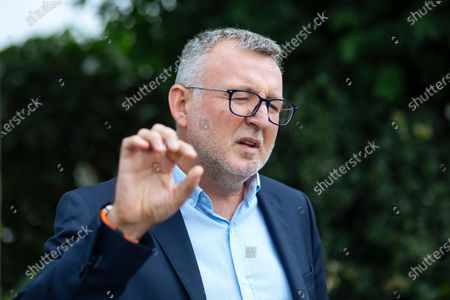 France Football magazine chief editor Pascal Ferre speaks during an interview with The Associated Press in Boulogne-Billancourt, outside Paris, . The prestigious Ballon d'Or will not be awarded this year because the coronavirus pandemic has disrupted the soccer season. Awarded by France Football magazine, the Ballon d'Or has been given out every year since Stanley Matthews won the first one in 1956. Lionel Messi has won it a record six times - one more than longtime rival Cristiano Ronaldo