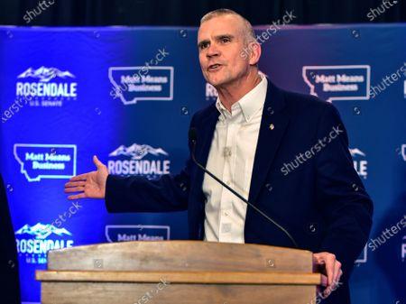 Matt Rosendale greets supporters in Helena, Montana. In the race for Montana's lone U.S. House seat, Republican Matt Rosendale faces opponent Democrat Kathleen Williams