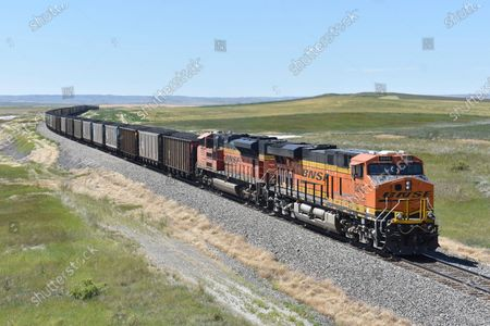 Railway train hauling carloads of coal from the Powder River Basin of Montana and Wyoming is seen east of Hardin, Mont., on . A coalition of states is renewing its push to stop the Trump administration from selling coal from public lands