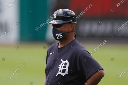 Detroit Tigers first base coach Dave Clark watches during an intrasquad baseball game, in Detroit