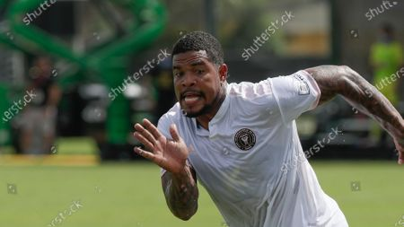Inter Miami defender Roman Torres runs to the ball during the second half of an MLS soccer match against New York City FC, in Kissimmee, Fla