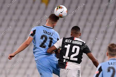 Sergej Milinkovic-Savic of SS Lazio and Alex Sandro of Juventus FC