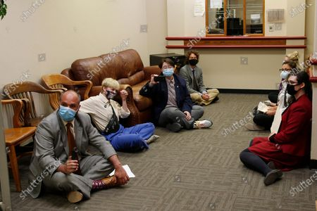 Stock Picture of Protestors conduct a sit-in at the office of Oklahoma County District Attorney David Prater, in Oklahoma City. Their demands included a call for Prater to reopen his investigation into the April 2019 shooting death of 17-year-old Isaiah Mark Lewis by police in the Oklahoma City suburb of Edmond, Okla