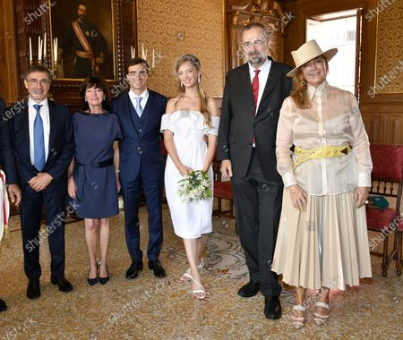 Newlyweds, Archduchess Eleonore Von Habsburg of Austria and Jerome d'Ambrosios at their civil ceremony held at the town hall in Monte Carlo