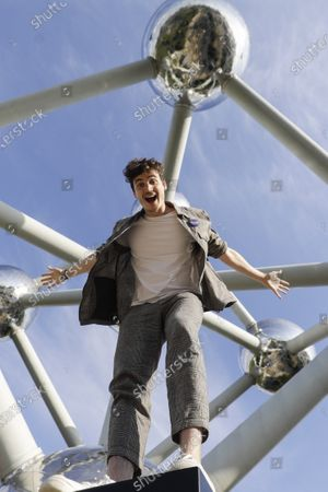 Belgian DJ and musician Henri PFR poses at the Atomium ahead of a concert in Brussels, Monday 20 July 2020.