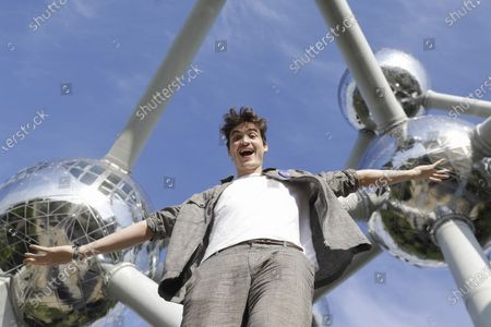 Stock Image of Belgian DJ and musician Henri PFR poses at the Atomium ahead of a concert in Brussels, Monday 20 July 2020.