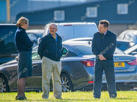 Sir David Jason (centre) at RAF Coningsby in Lincolnshire watching the Royal Air Force Battle of Britain Memorial Flight practise on Friday morning. Actor David Jason was seen watching the Royal Air Force Battle of Britain Memorial Flight practise their display for the new season as they gained their Public Display Approval this morning (Fri). The Only Fools and Horses star seemed to be enjoying the display by the iconic planes at RAF Coningsby base in Lincolnshire and was later spotted meeting the crew of the Lancaster. The 80-year-old started his career as a mechanic and is a qualified helicopter pilot. The new display commemorates the 80th anniversary of the Battle of Britain and is called Dowding, after Hugh Dowding who was in charge of Fighter Command during the Battle of Britain