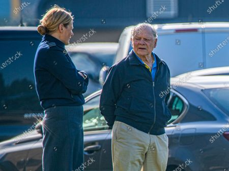 Sir David Jason at RAF Coningsby in Lincolnshire watching the Royal Air Force Battle of Britain Memorial Flight practise on Friday morning. Actor David Jason was seen watching the Royal Air Force Battle of Britain Memorial Flight practise their display for the new season as they gained their Public Display Approval this morning (Fri). The Only Fools and Horses star seemed to be enjoying the display by the iconic planes at RAF Coningsby base in Lincolnshire and was later spotted meeting the crew of the Lancaster. The 80-year-old started his career as a mechanic and is a qualified helicopter pilot. The new display commemorates the 80th anniversary of the Battle of Britain and is called Dowding, after Hugh Dowding who was in charge of Fighter Command during the Battle of Britain.