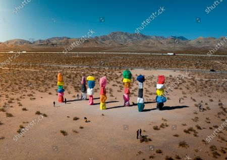 Editorial picture of Brightly coloured sculptures, Mojave desert, Nevada, USA - 16 Jun 2020