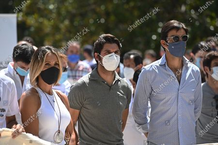 Stock Picture of Spanish bullfighters Cristina Sanchez (L) and Cayetano Rivera Ordonez (C) attend a rally called by several 'picador' and 'banderillero' bullfighters in front of Spanish Labour Ministry against the sharing out of economic aids among artists affected by COVID-19 disease pandemic planned by central Government, in Madrid, Spain, 21 July 2020. They consider that bullfighting sector is being discriminated in the sharing out of the economic aids.