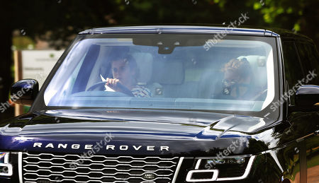 Stock Image of Princess Beatrice and Sarah Ferguson Duchess of York leave Royal Lodge, Windsor prior to her wedding