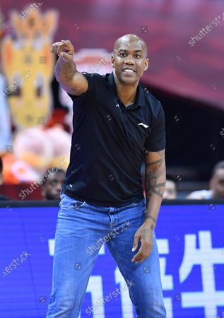 Stephon Marbury, head coach of Beijing Royal Fighters, gestures during a match between Beijing Royal Fighters and Nanjing Monkey Kings at the 2019-2020 Chinese Basketball Association (CBA) league in Qingdao, east China's Shandong Province, July 21, 2020.