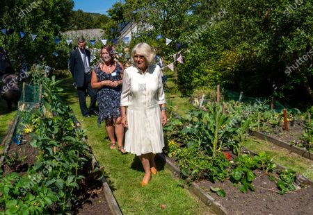 Britain's Camilla, the Duchess of Cornwall is shown around the community garden during a visit to Treverbyn Community Hall, in St Austell, south west England