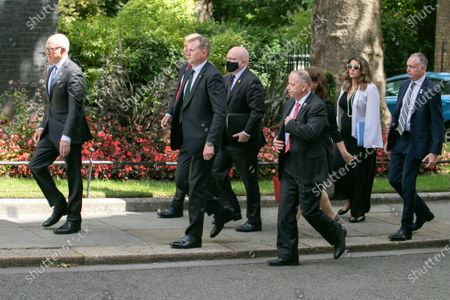Stock Image of US Ambassador Woody Johnson and State Department delagation at Downing Street during the visisit of US Secretary of State Mike Pompeo