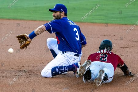 Los Angeles, CA, Monday, July 20, 2020 - Diamondbacks centerfield Starling Marte steals second as Dodgers second baseman Chris Taylor accepts the late throw during first inning action at Dodger Stadium. (Robert Gauthier / Los Angeles Times)