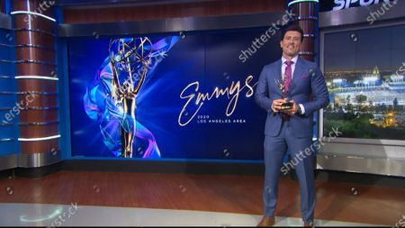 Nomar Garciaparra presents the Los Angeles Area Emmy award for Sports News Story at the 2020 Los Angeles Area Emmy Awards which streamed on Emmys.com on