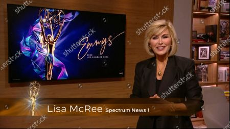 Stock Image of Lisa McRee presents the Los Angeles Area Emmy award for LA Color at the 2020 Los Angeles Area Emmy Awards which streamed on Emmys.com on