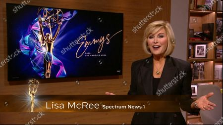 Lisa McRee presents the Los Angeles Area Emmy award for Live Special Events - Programming at the 2020 Los Angeles Area Emmy Awards which streamed on Emmys.com on