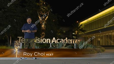 Stock Image of Roy Choi presents the Los Angeles Area Emmy award for Live Coverage of an Unscheduled News Event at the 2020 Los Angeles Area Emmy Awards which streamed on Emmys.com on